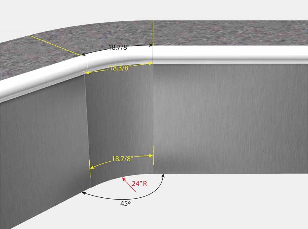 2 foot Radius 45 Degree Corners - Isometric View