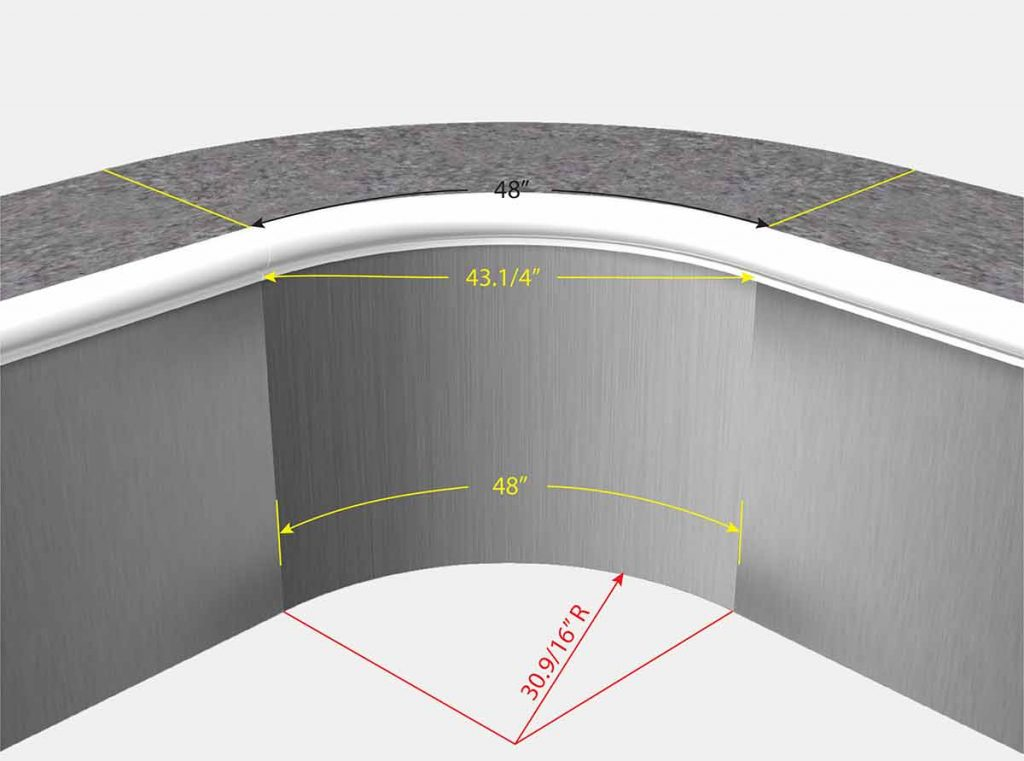 2 Foot 6 Inch Radius Corners - Isometric View