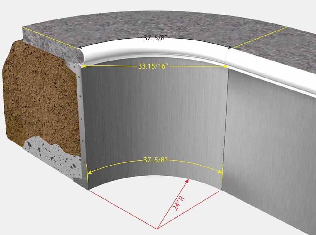 2 Foot Radius Corners - Isometric View
