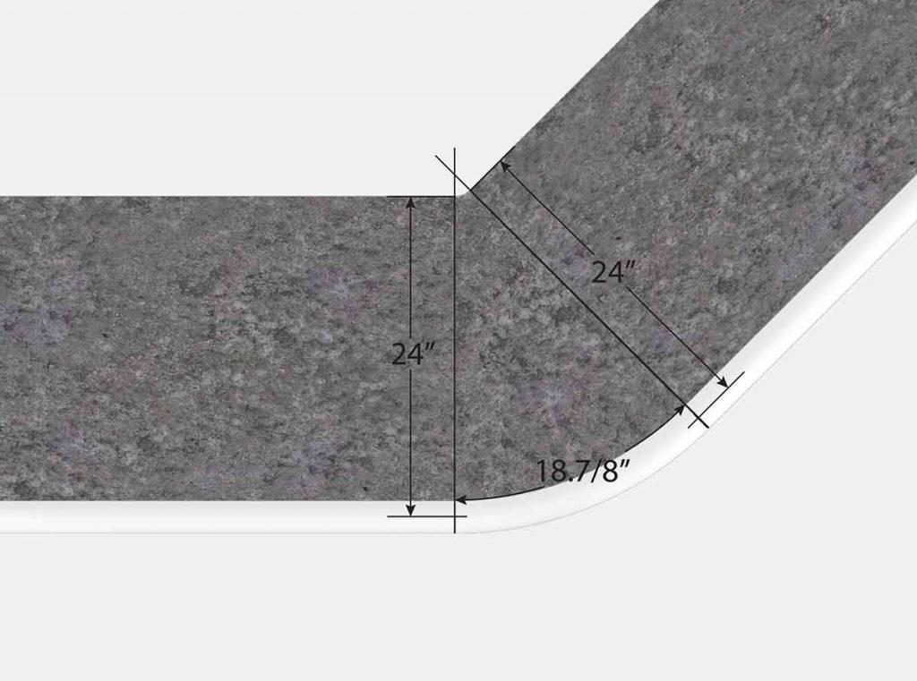 2' Reverse Radius Corner - 45 Degree - Top View