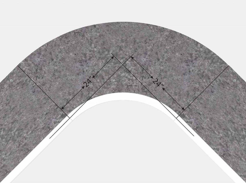2 Foot Radius Corner - Top View