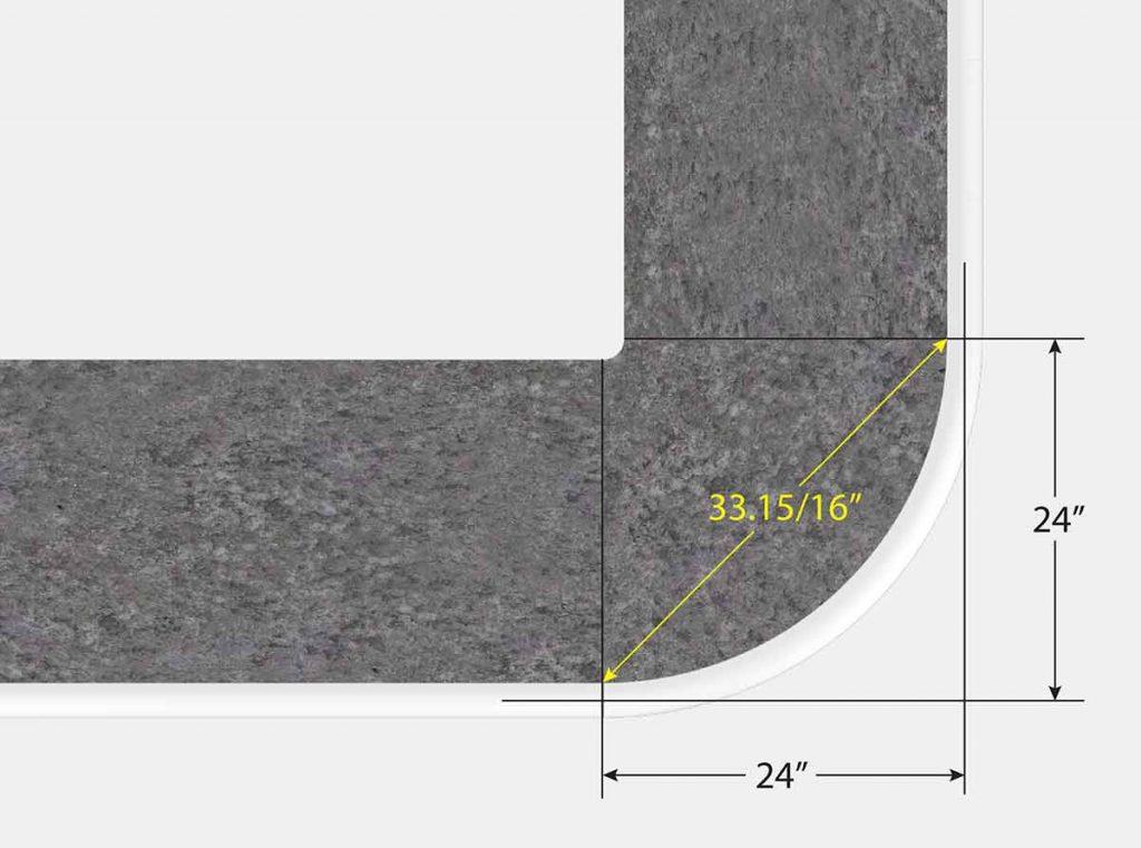 2 Foot Reverse Radius Corner - Top View