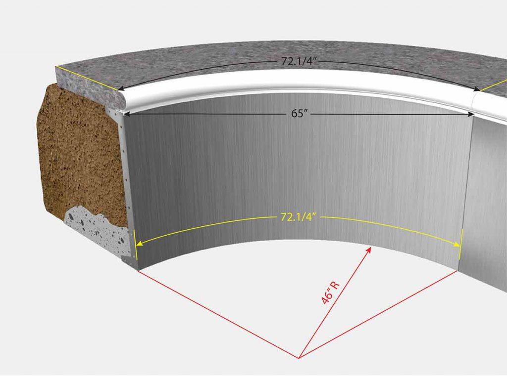 3 foot 10 Inch Radius Corners - Isometric View