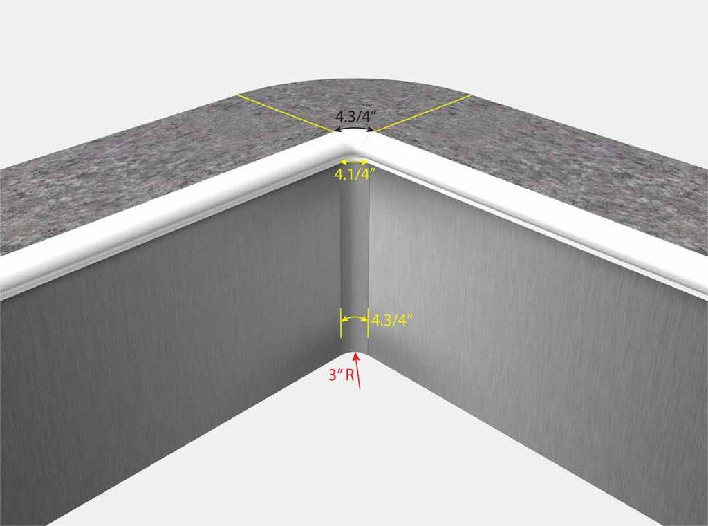 3 Inch Radius Corners - Isometric View