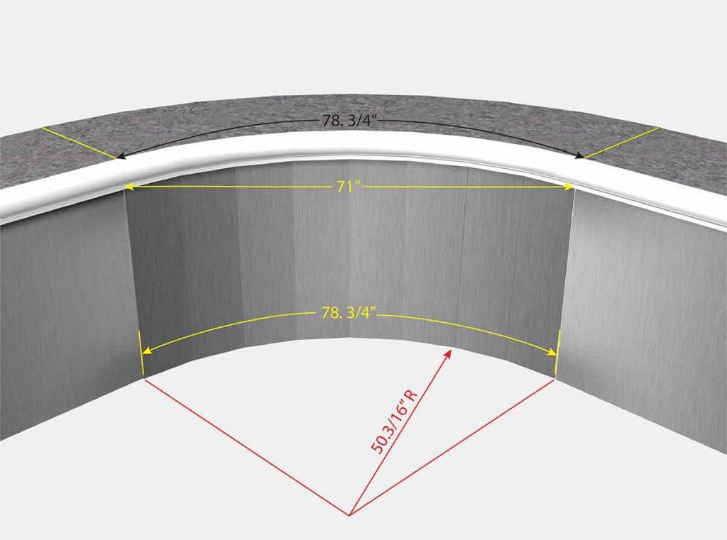 4 Foot 2 Inch Radius Corners - Dejoyeaux - Isometric View