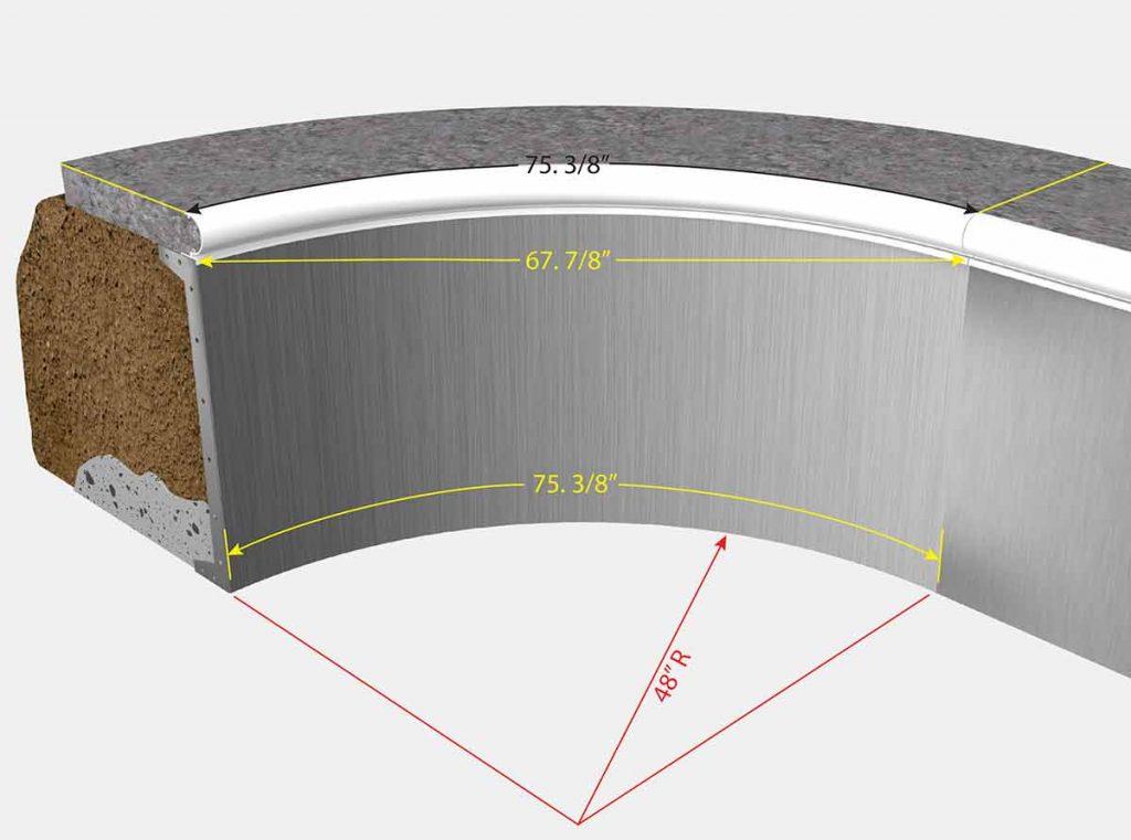 4 foot Radius Corners - Isometric View