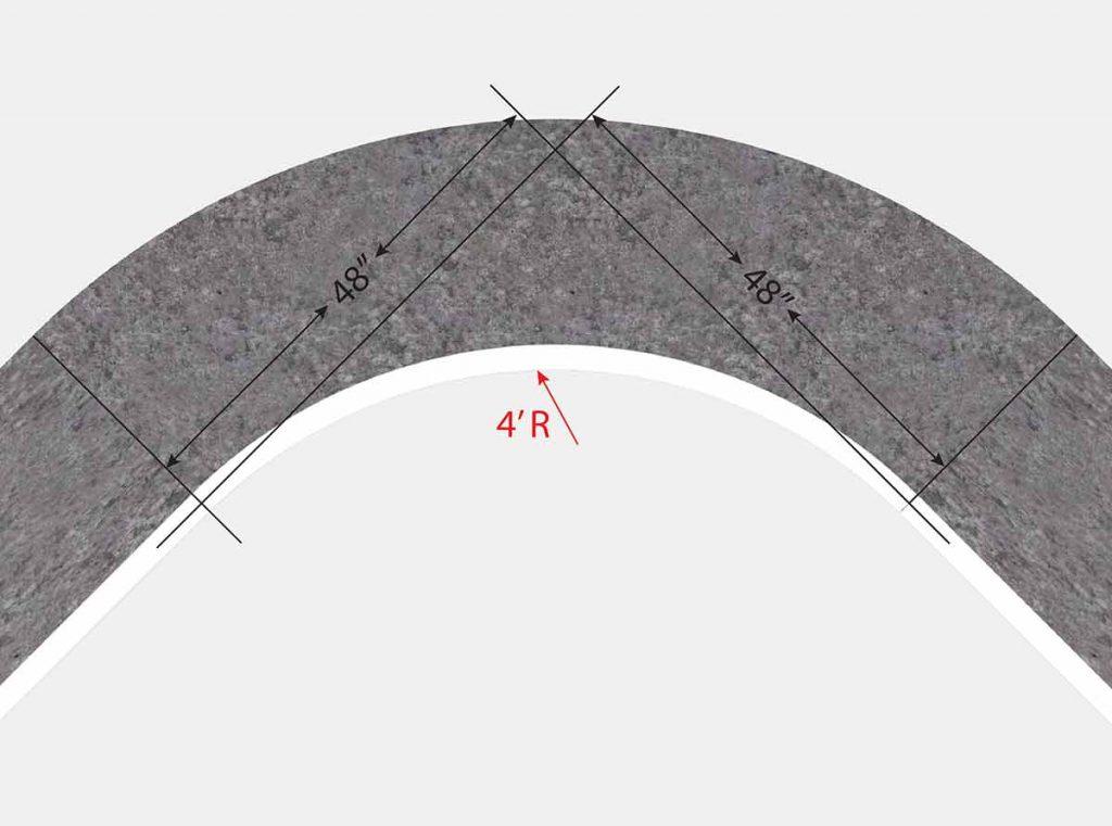 4 Foot Radius Corner - Top View