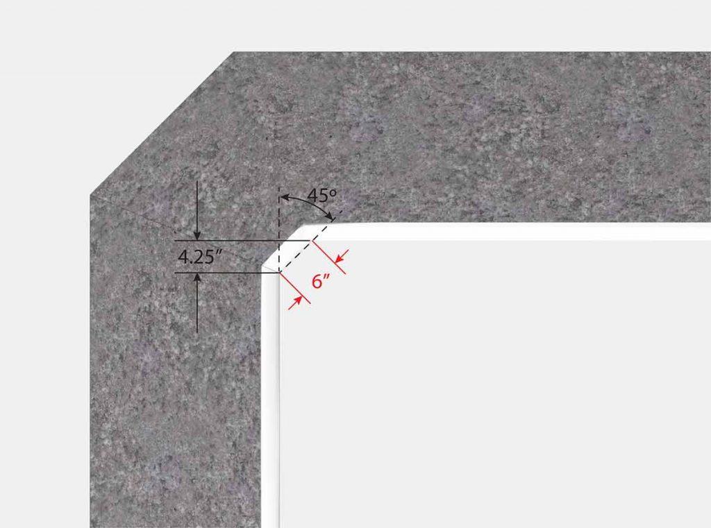 6 Inch Cut Off Corners - Top View