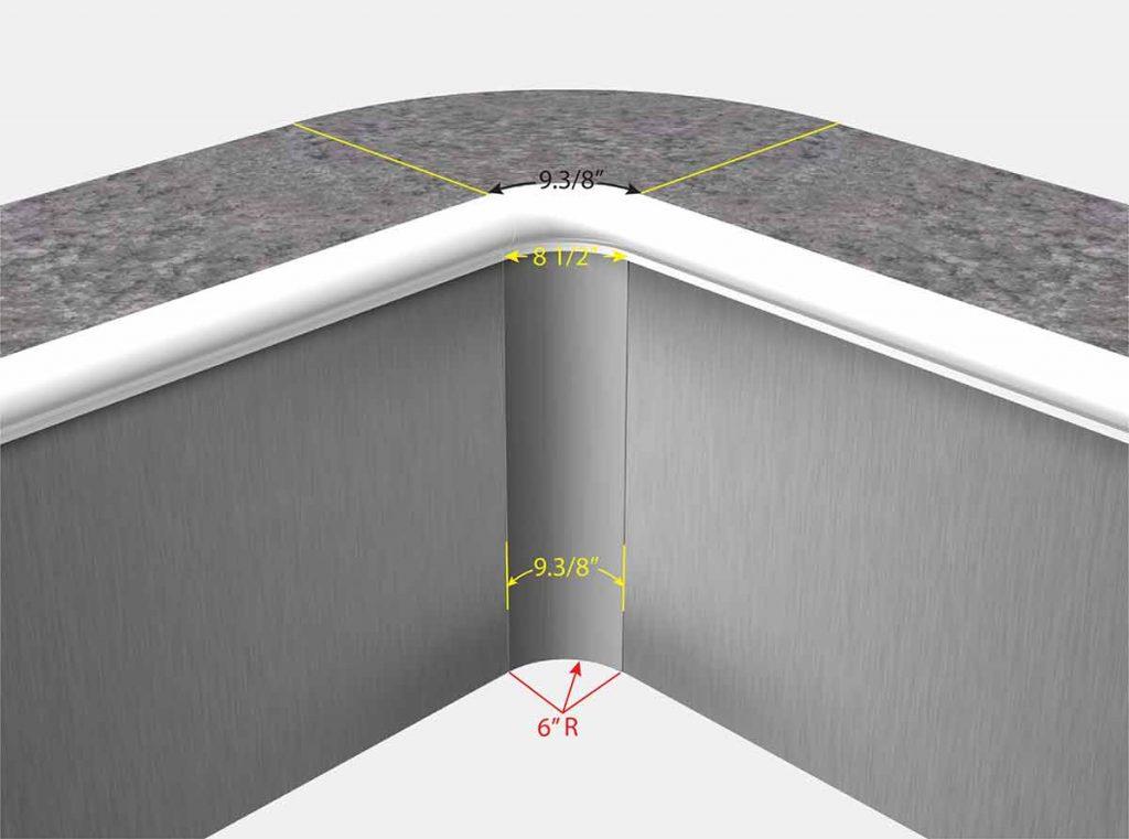 """6"""" Radius Corners - Isometric View"""
