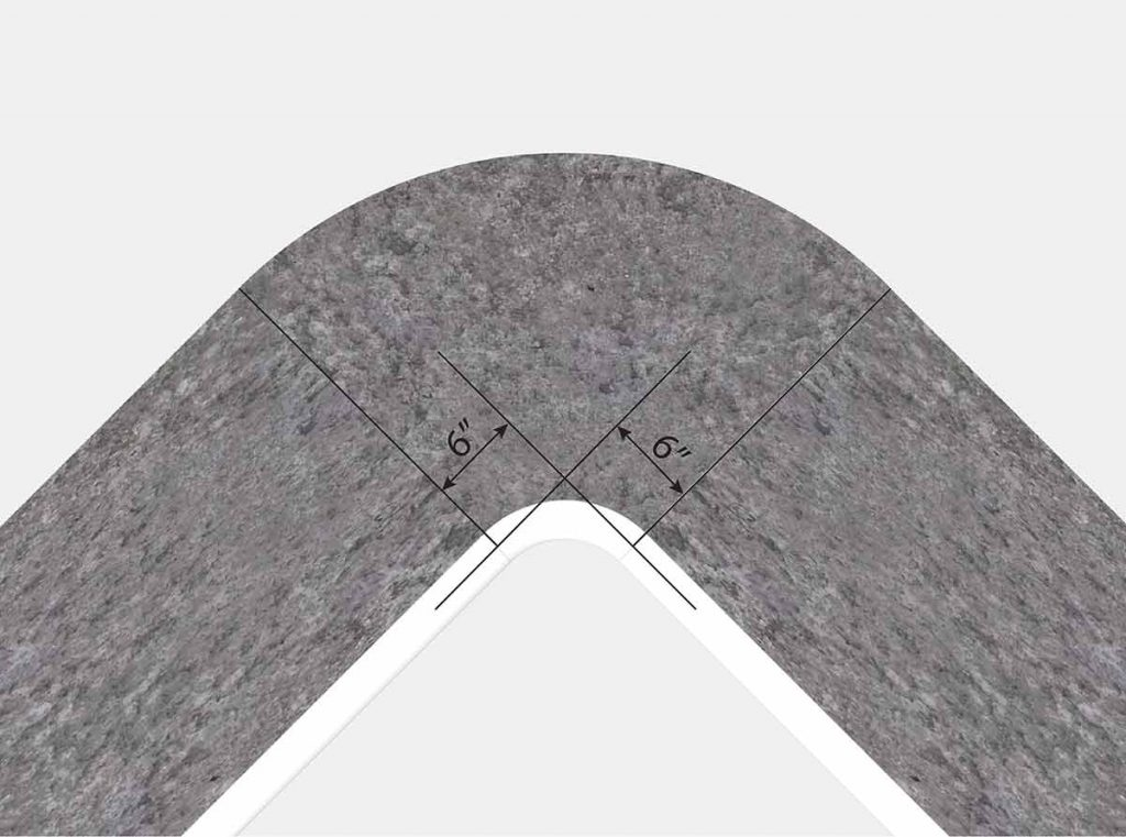 6 Inch Radius Corner - Top View