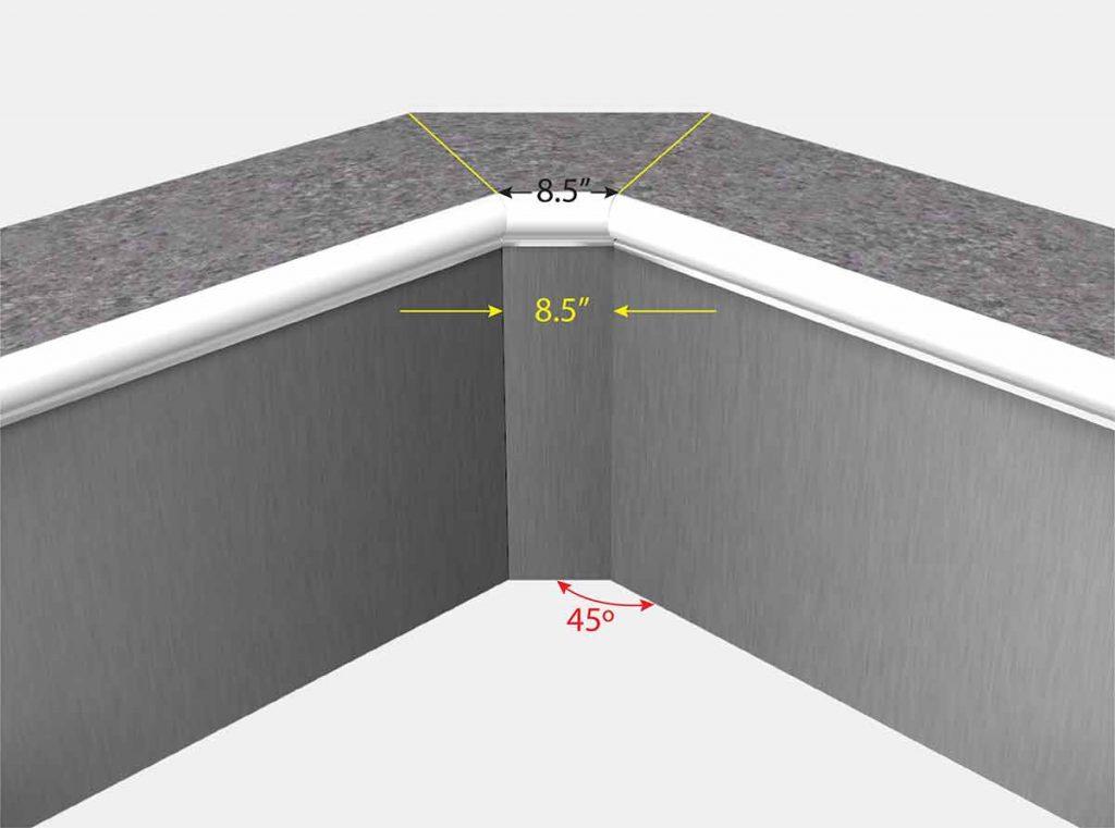 "Swimming Pool Liner Corner - 8.5"" Cutoff - 8.5 Inch Cutoff - 8.5"" Diagonal - 8.5 Diagonal - Front View"