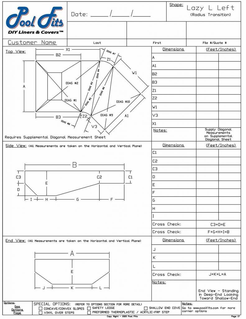 Lazy L Radius Transition Measuring Sheet - Left Hand