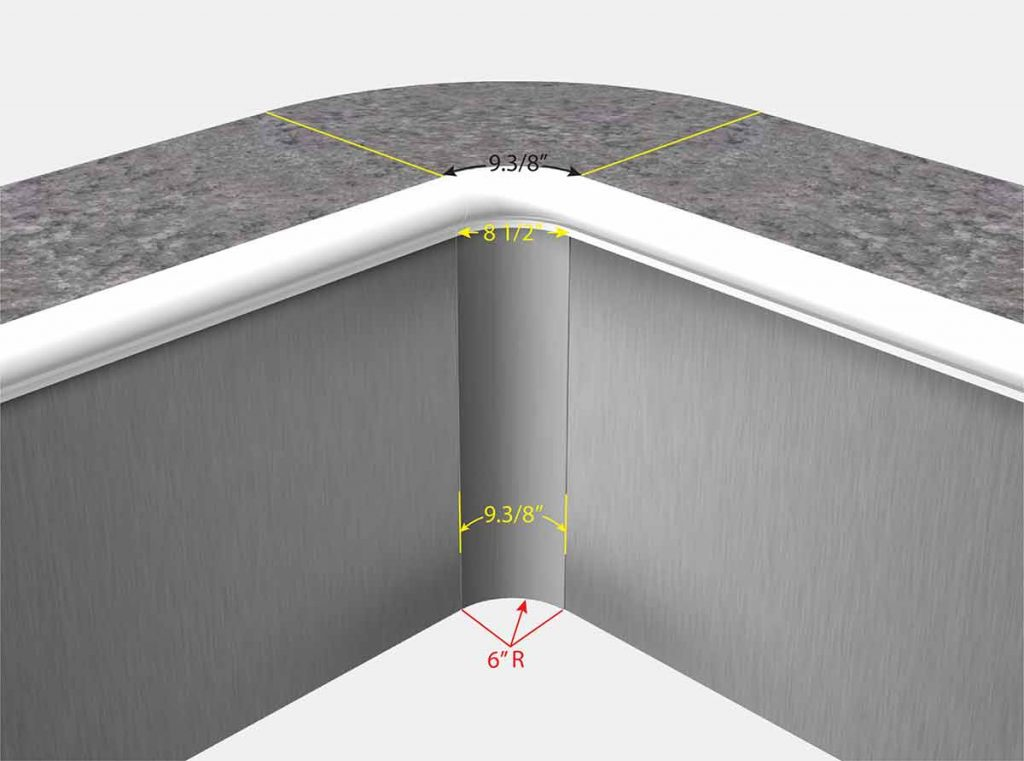 "Swimming Pool Liner Corner - 6"" Radius - 6 Inch Radius - Front View"