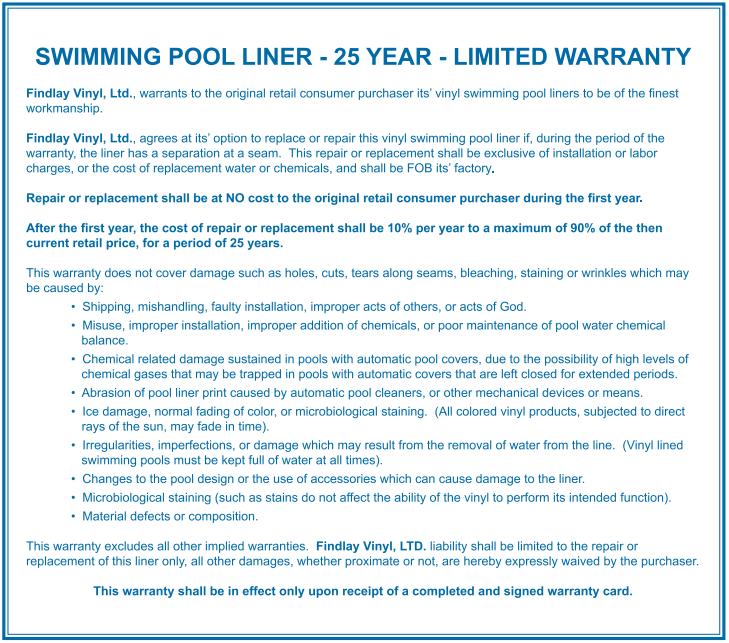 Warranty Inground Liner - 25 Year