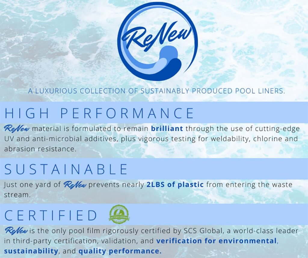 Pool Fits ReNew Inground Pool Liner Material - High Performance Sustainable and Certified